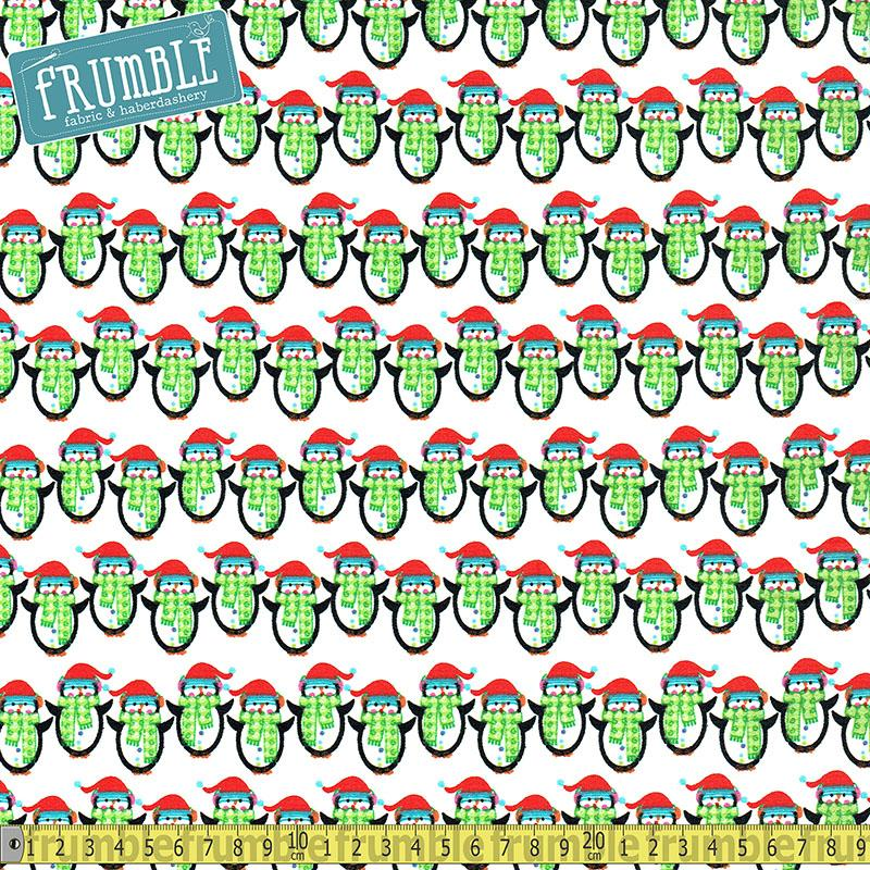 Santa And Friends Penguins White - Frumble Fabrics