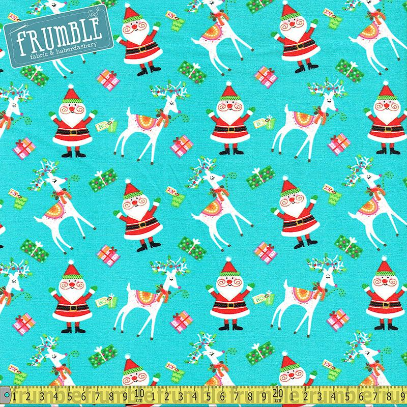 Santa And Friends Santa And Reindeer Aqua Fabric by Fabric Editions