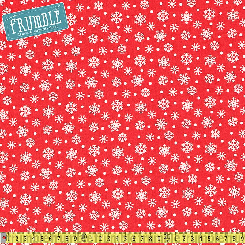 Santa And Friends Snowflake Red Fabric by Fabric Editions