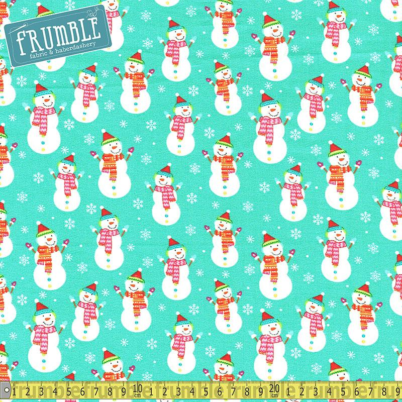 Santa And Friends Snowman Turquoise Fabric by Fabric Editions
