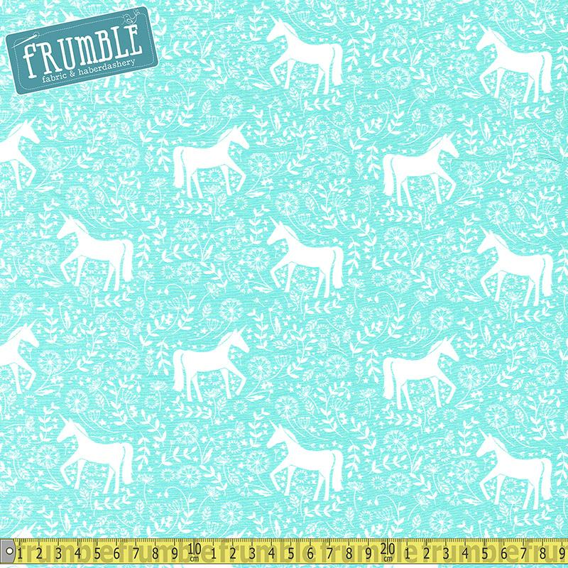 Unicorn Field Frolic Mint Fabric by Various
