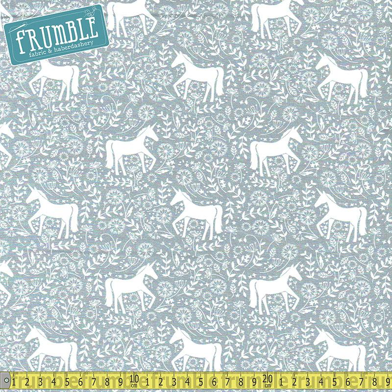 Unicorn Field Frolic Silver Fabric by Various
