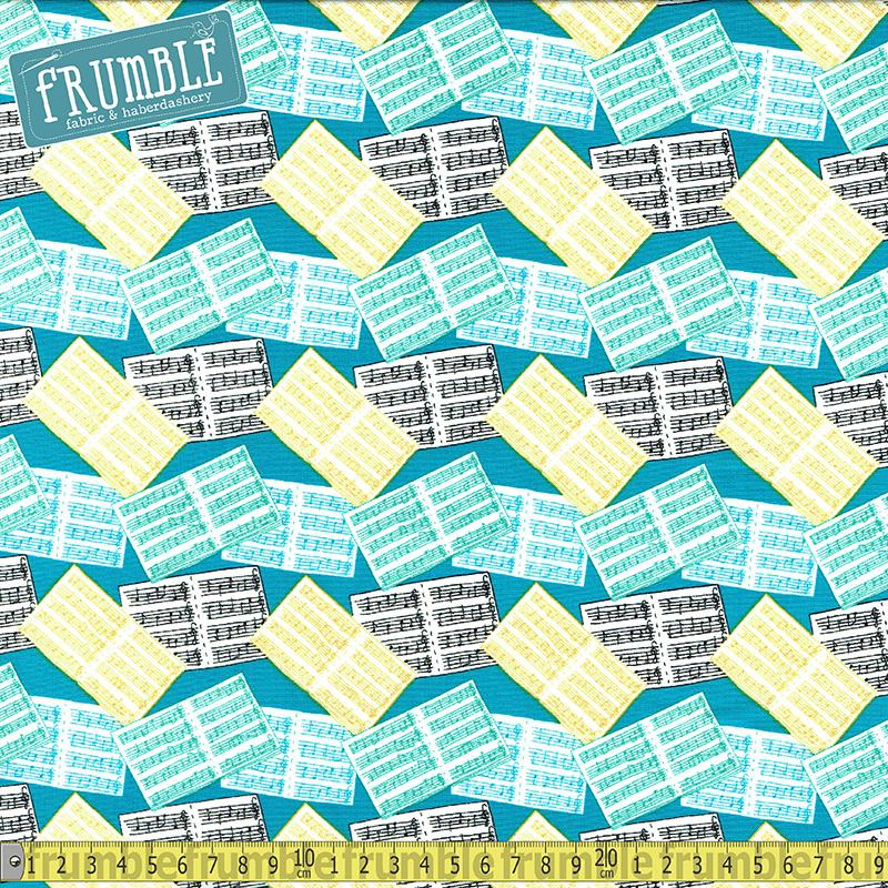 Musical Affair Sheet Music Teal - Frumble Fabrics