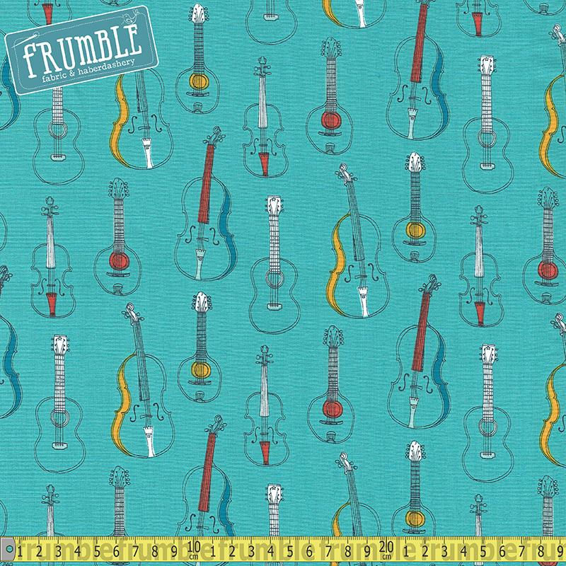 Musical Affair Strings Teal - Frumble Fabrics