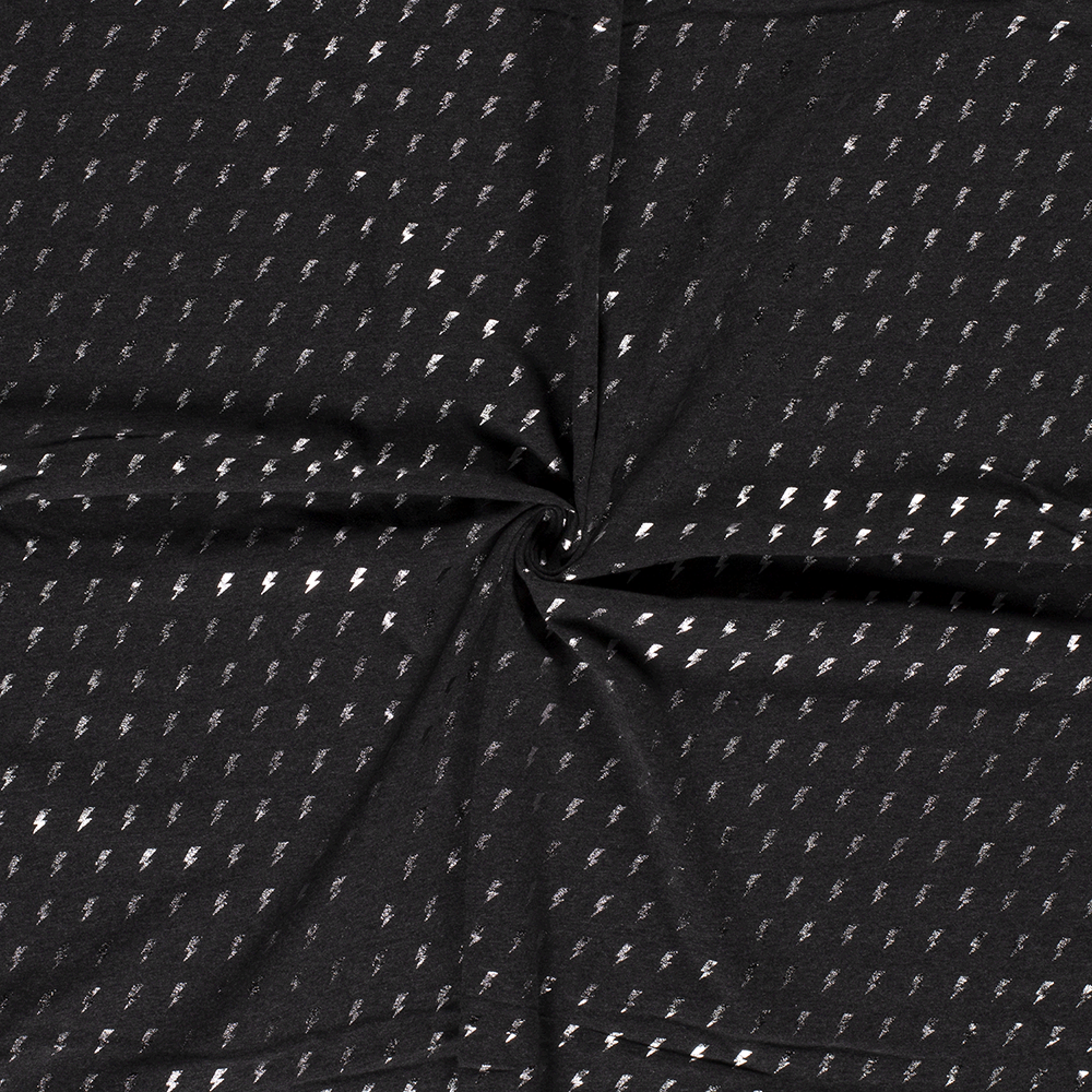 Metallic Silver Lightning Bolt Row Dark Grey Foil Jersey - Frumble Fabrics