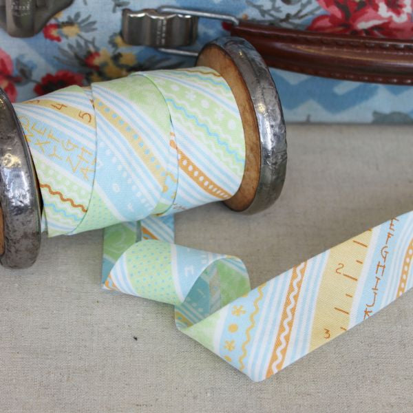 Monica Special: Handmade Bias Binding - Cool Baby Stripes - Frumble Fabrics