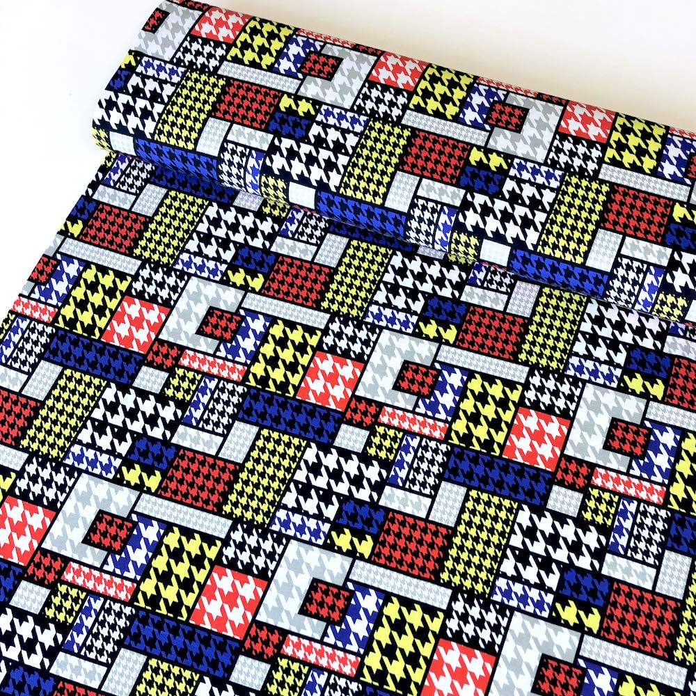 Houndstooth Mondrian Primary Jersey Print Fabric
