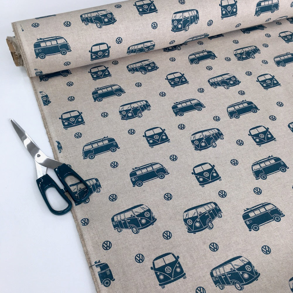 VW surfing holidays Linen Look Half Panama Canvas Fabric
