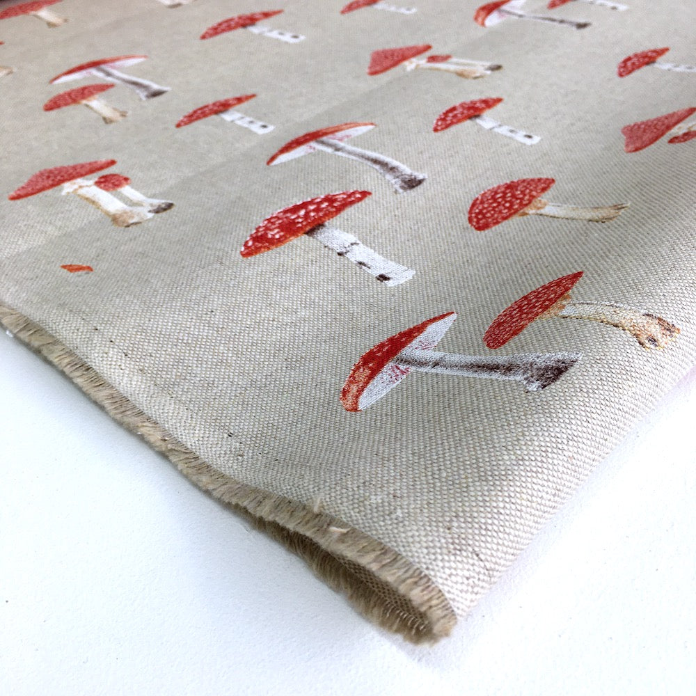 Forest Mushrooms Linen Look Half Panama Canvas Fabric