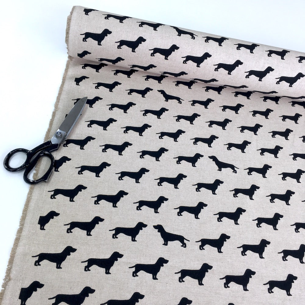 Dachshund Dogs Linen Look Half Panama Canvas Fabric