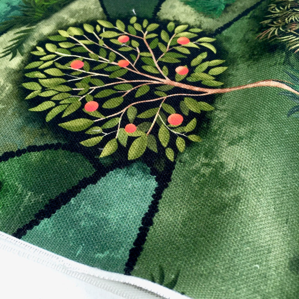Orchard Hill Fruit Trees Forest Green Soft Canvas Fabric - Frumble Fabrics