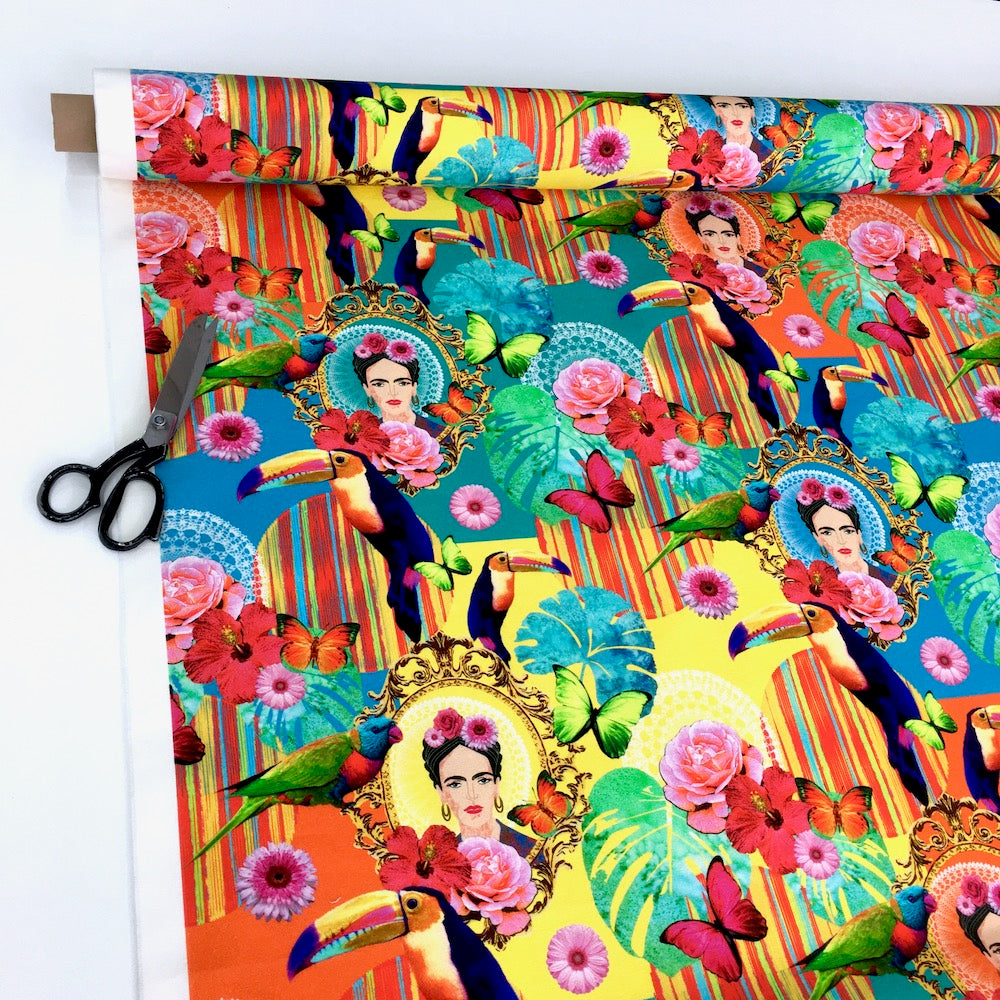 Frida Mexico Floral Bright Folklore Multi Soft Canvas Fabric