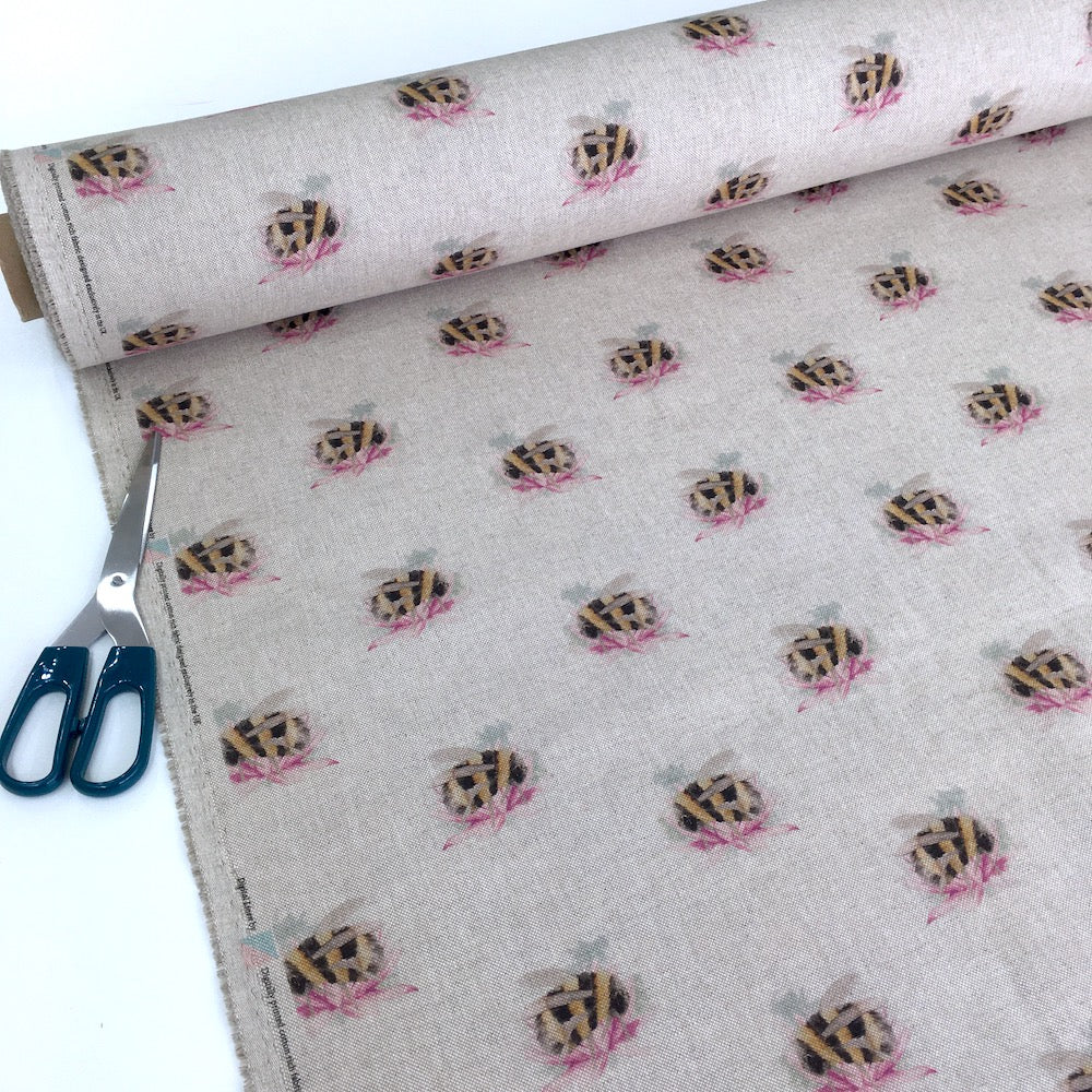 Bombini Floral Bees Linen Look Half Panama Canvas Fabric
