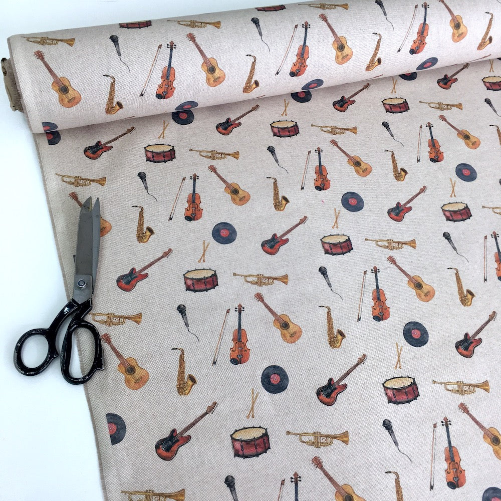 Musical Instuments Linen Look Half Panama Canvas Fabric - Frumble Fabrics