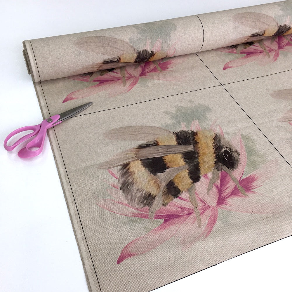 Floral Bee Cushion Panels Linen Look Half Panama Canvas Fabric