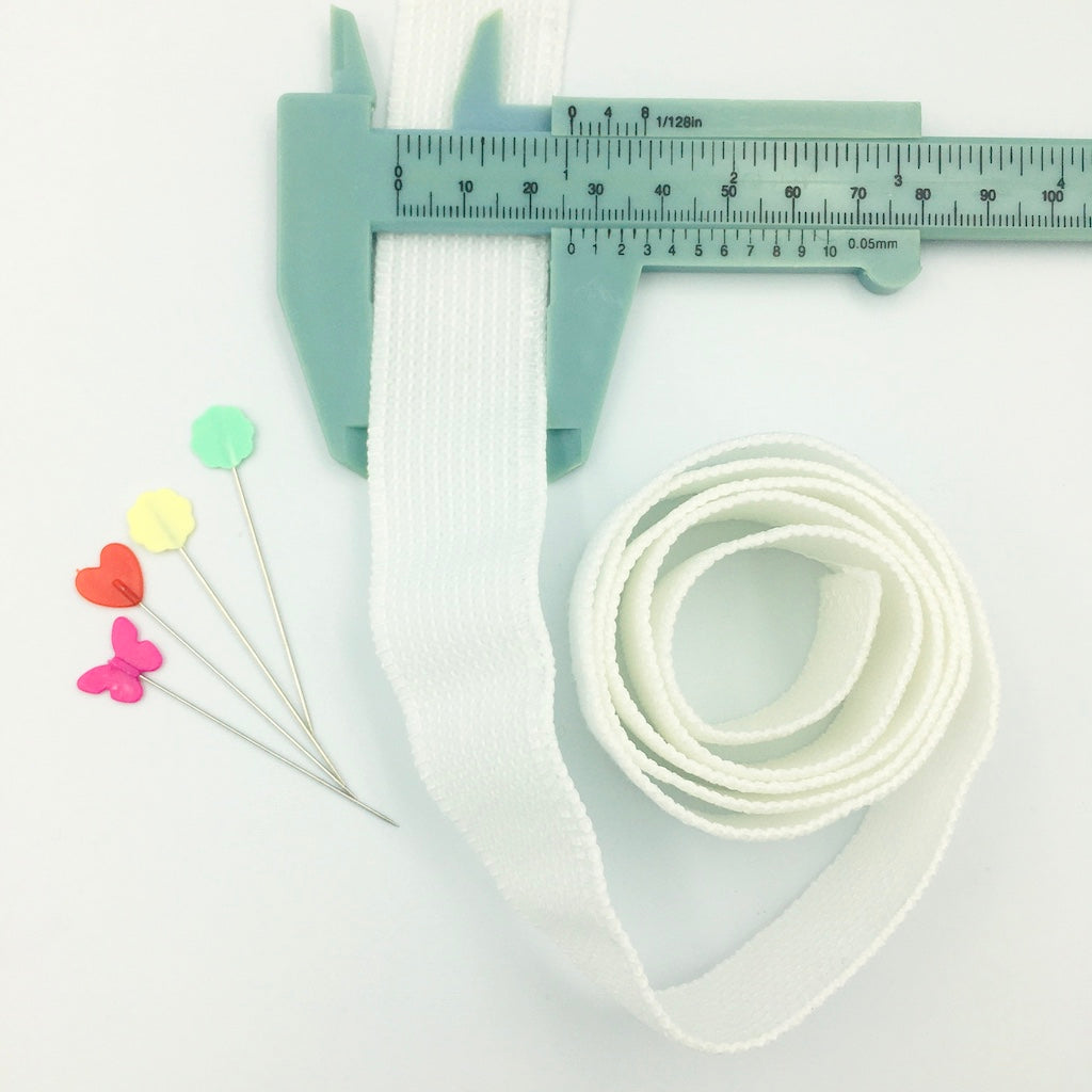 Peta-stretch Non Roll Waistband Elastic 25mm White - Frumble Fabrics