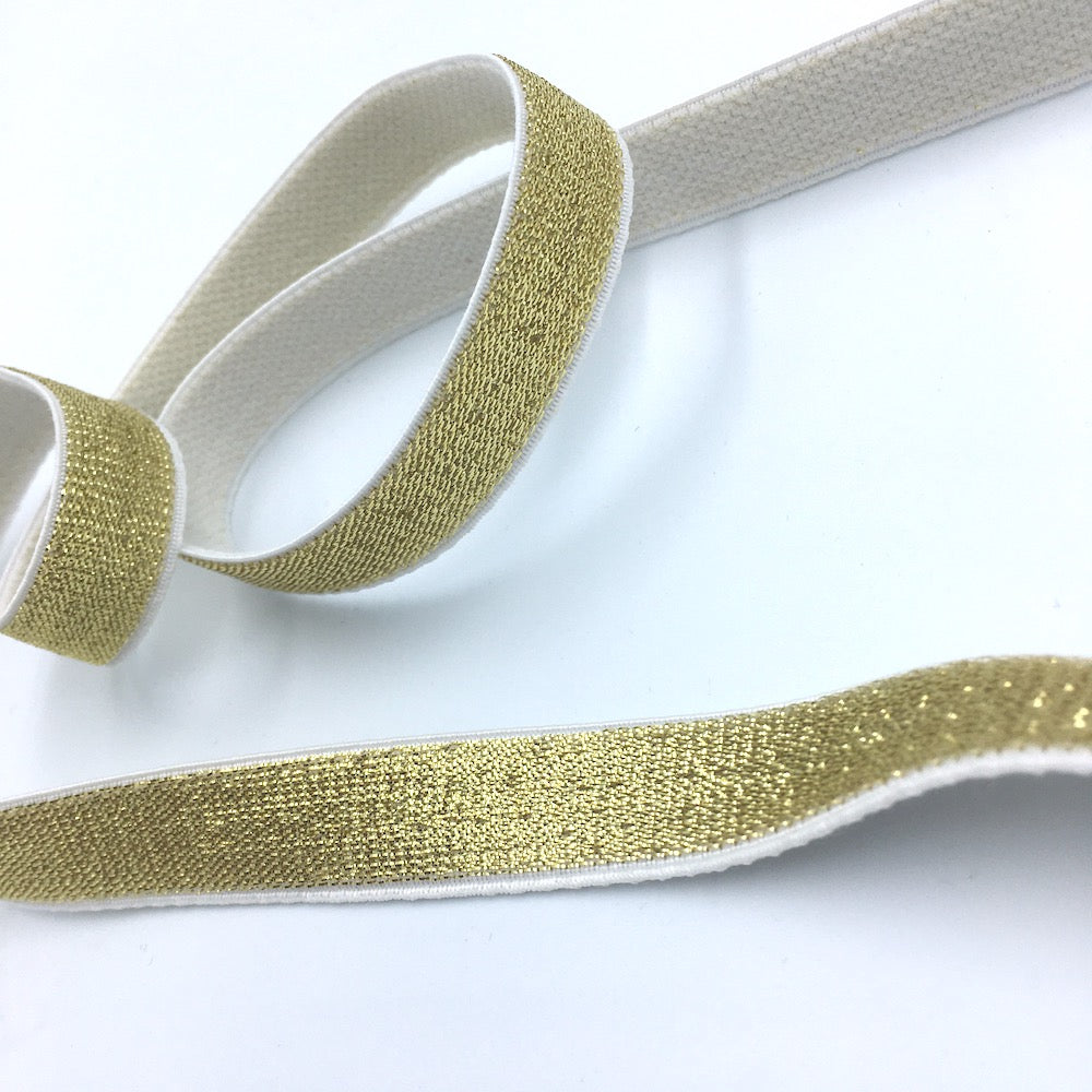 15mm Metallic Gold Elastic with White Plush Soft Back - Frumble Fabrics