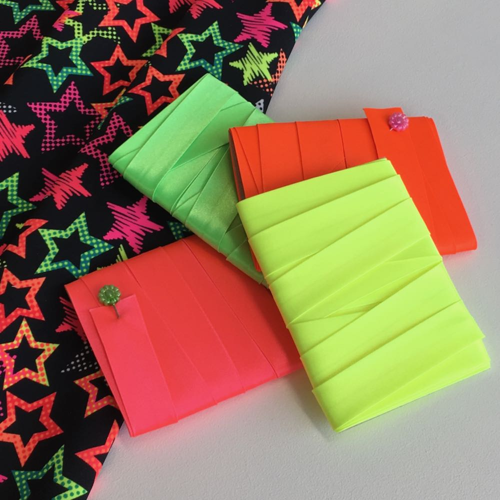 Neon 18mm satin bias binding in Pink, Orange, Yellow and Green