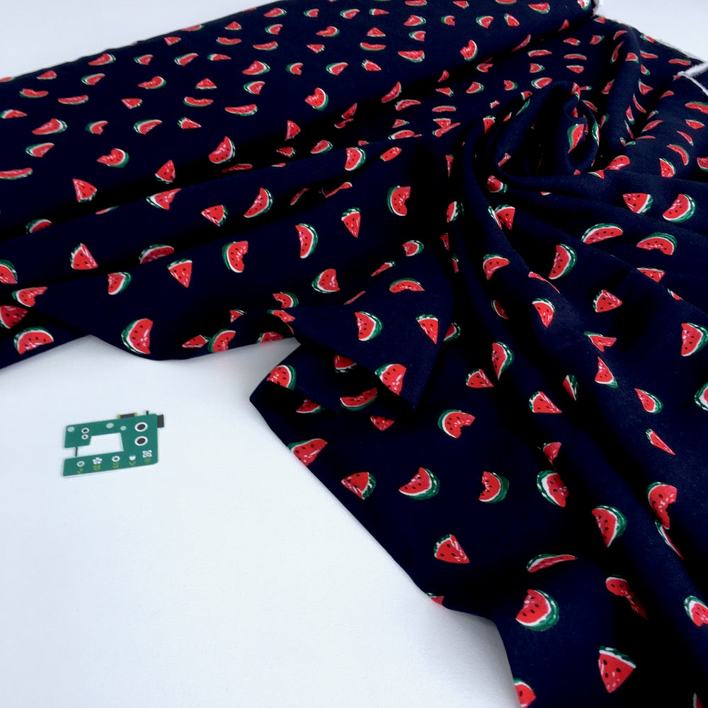 Scattered Watermelons Viscose Rayon in Dark Navy - Frumble Fabrics
