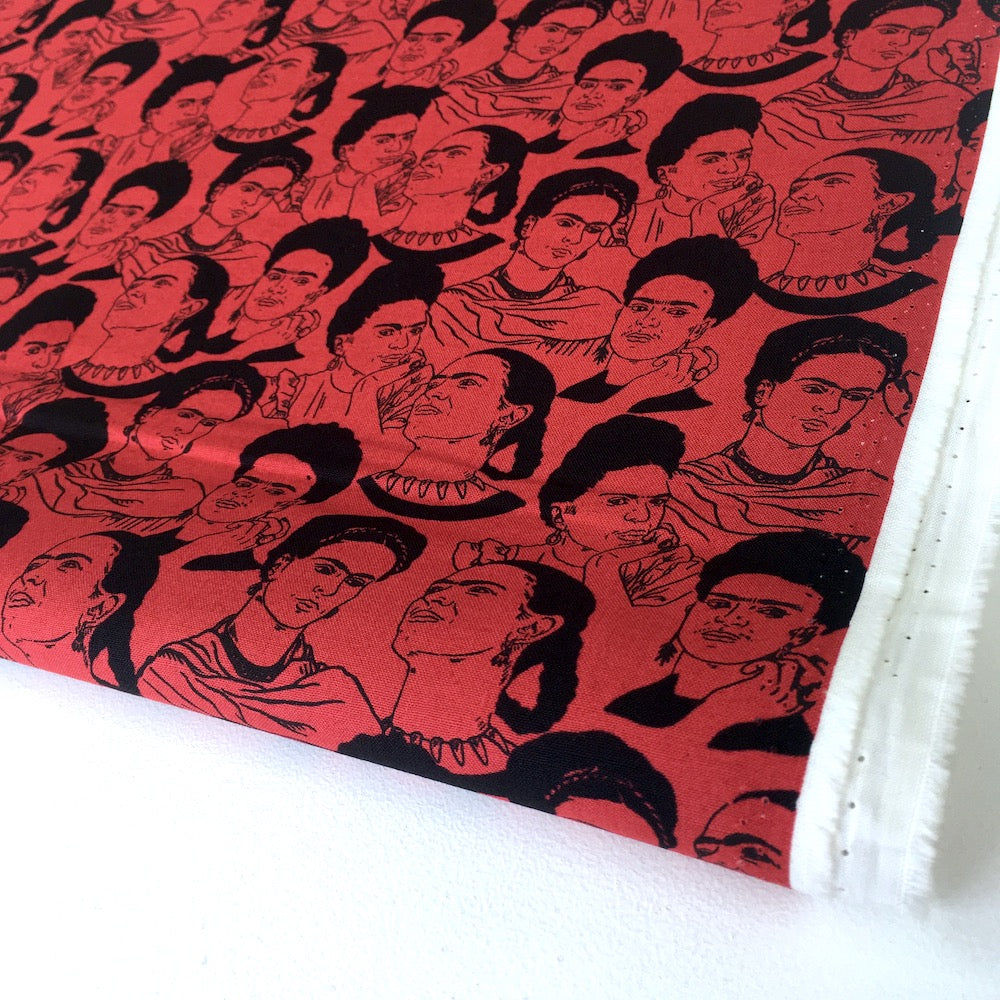 Frida Kahlo Mono Faces Red - Frumble Fabrics