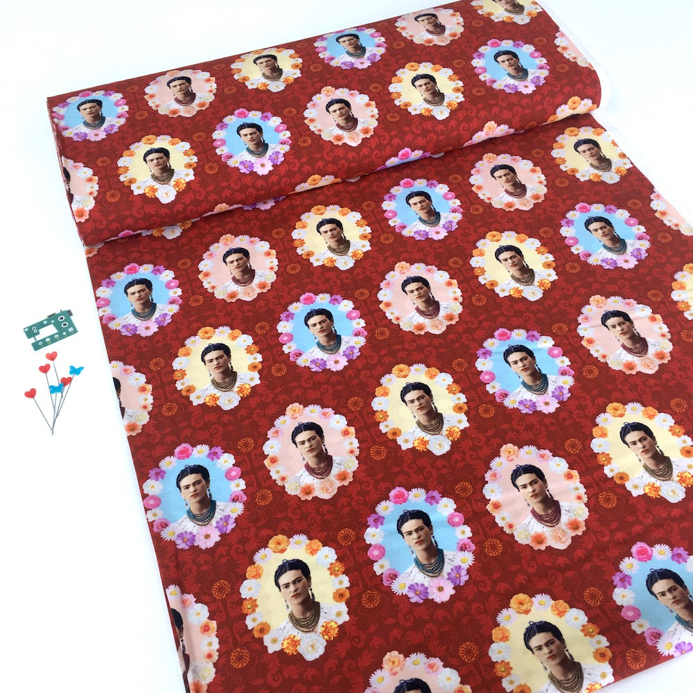 Frida Kahlo Flower Frames Red - Frumble Fabrics