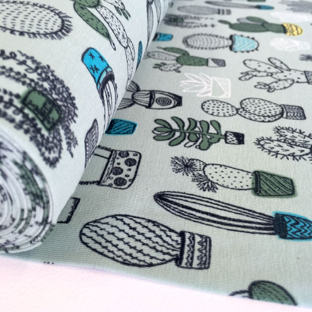 House Plants Sage Jersey Print Fabric Knit