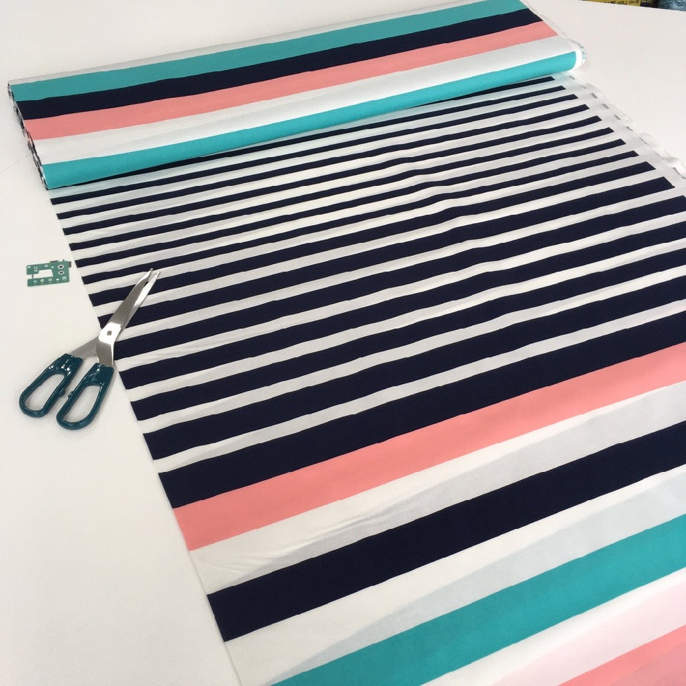 40mm Marine Stripe Cotton Poplin Stretch - Frumble Fabrics