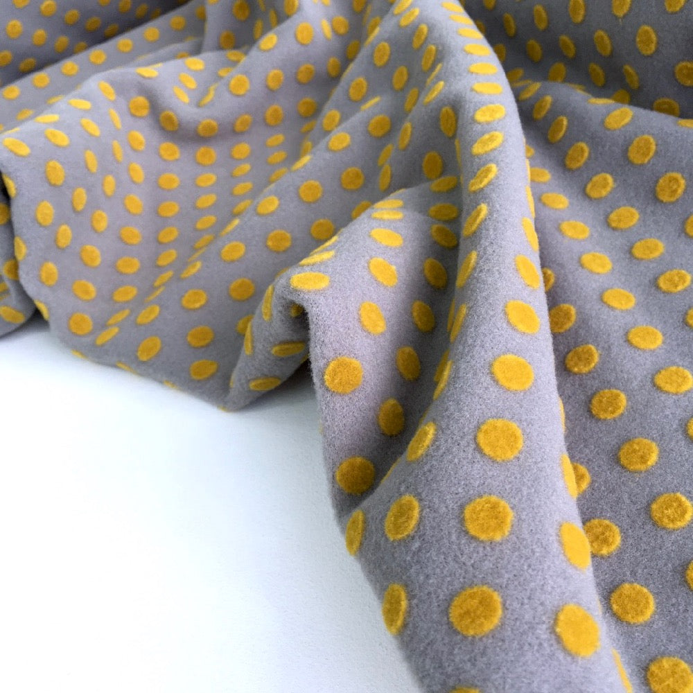Little Dots Wooly Flocks Coating Yellow Grey - Frumble Fabrics