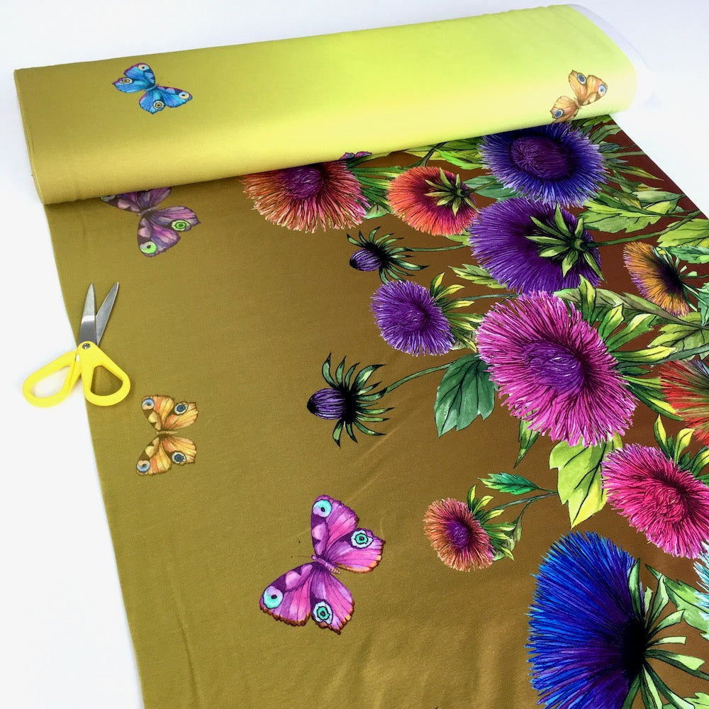 Wild Flowers And Butterflies Border Mustard Lime Jersey Print - Frumble Fabrics