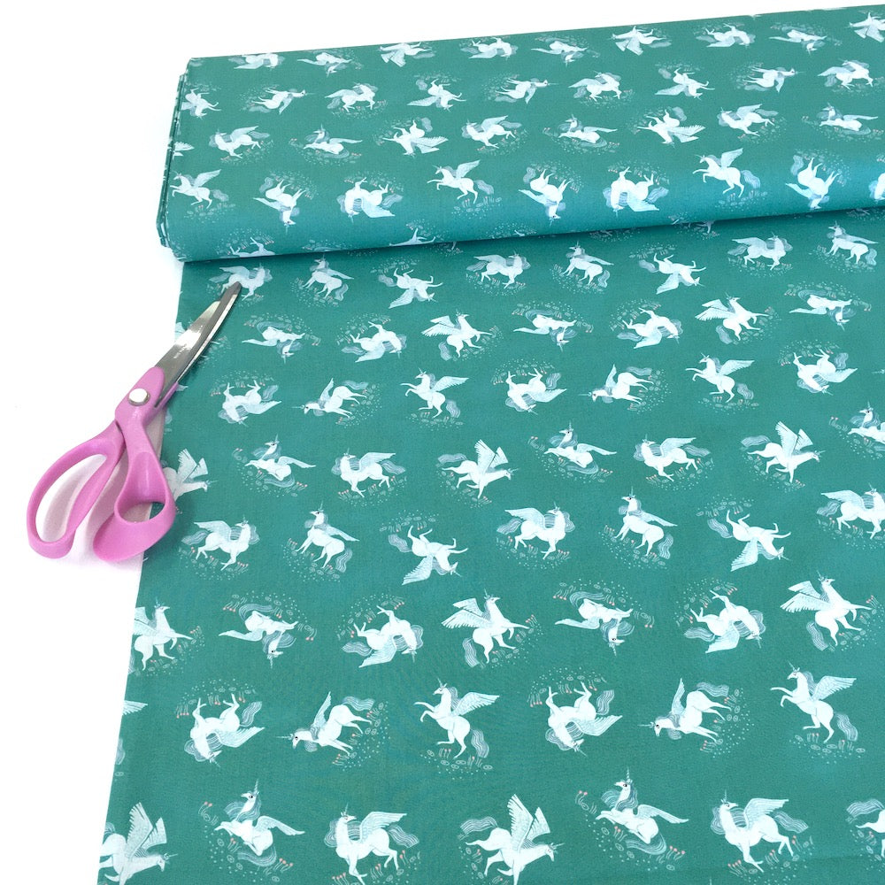 Mythical Tossed Unicorns Billiard Green - Frumble Fabrics