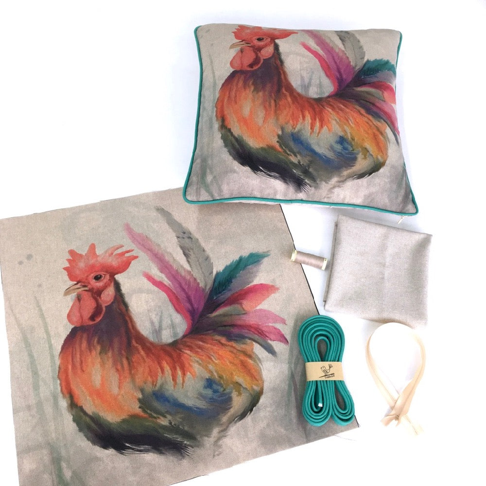 Country Chicken Rooster Cushion Panel Project Kit - Frumble Fabrics