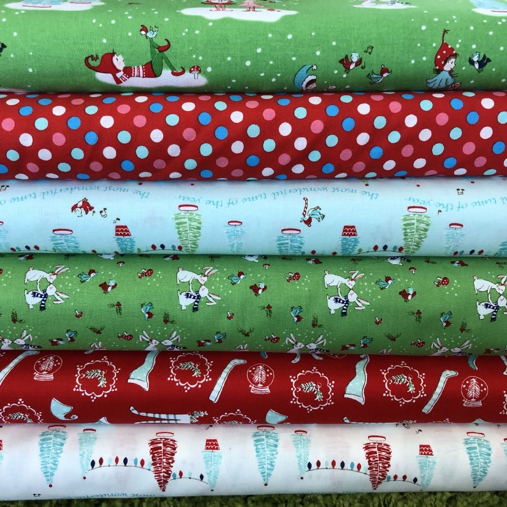 Pixie Noel Green And Red Christmas Fat Quarter Pack - Frumble Fabrics
