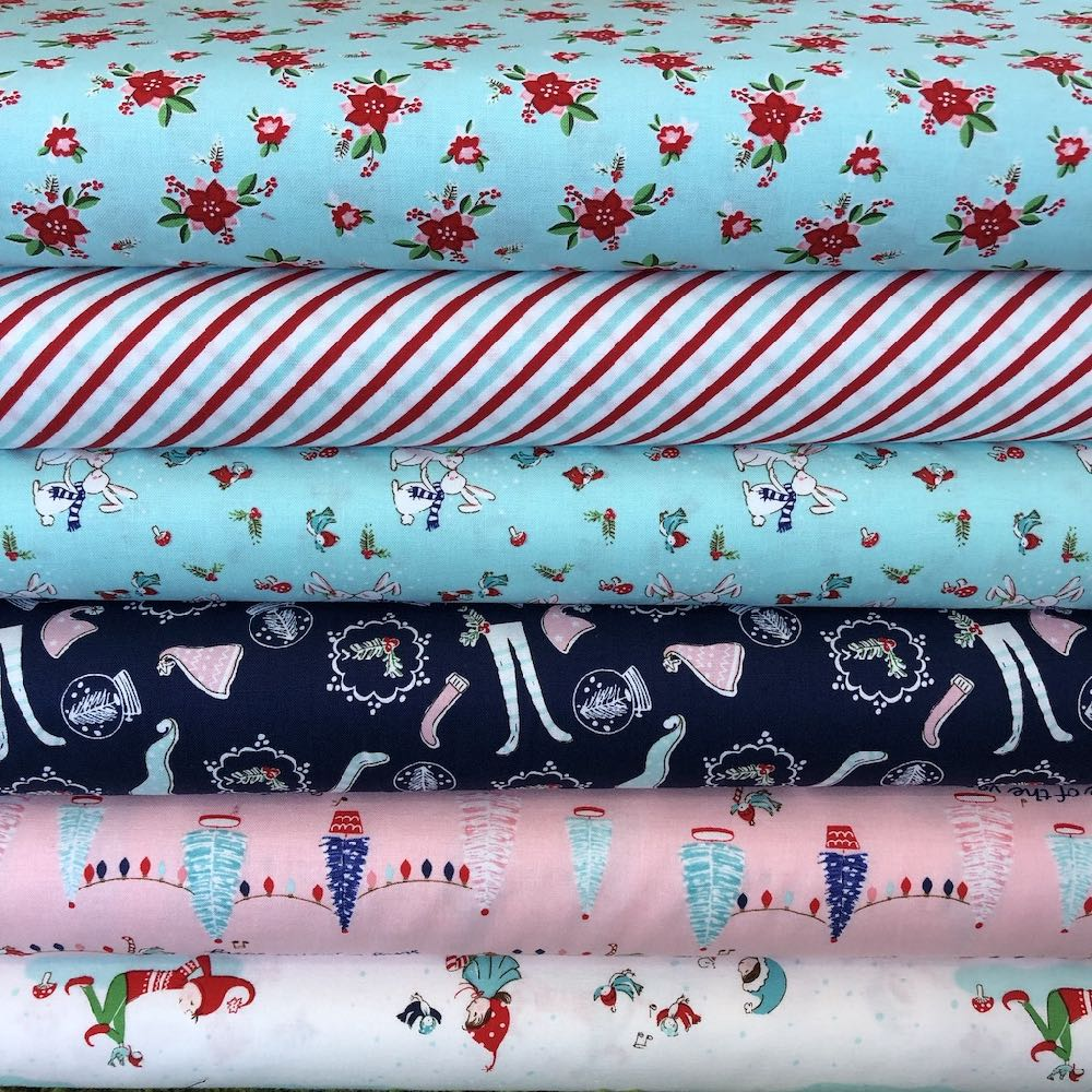 Pixie Noel Pink And Blue Christmas Fat Quarter Pack - Frumble Fabrics