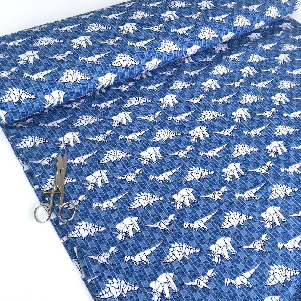 Organic Paper Dinosaurs Soft Sweat Blue - Frumble Fabrics
