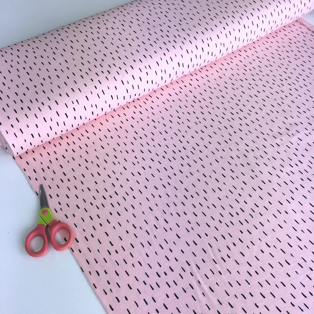 Happy Dashes GOTS Organic Jersey Light Pink - Frumble Fabrics