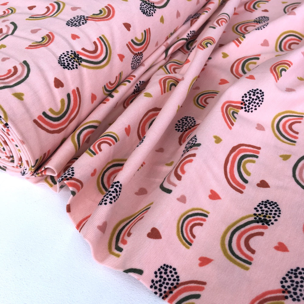 Organic Rainbows And Hearts Printed Jersey Pink - Frumble Fabrics