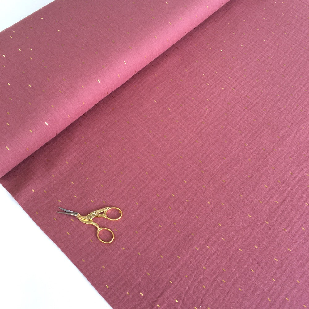 Golden Dashes Double Gauze Dark Rose - Frumble Fabrics