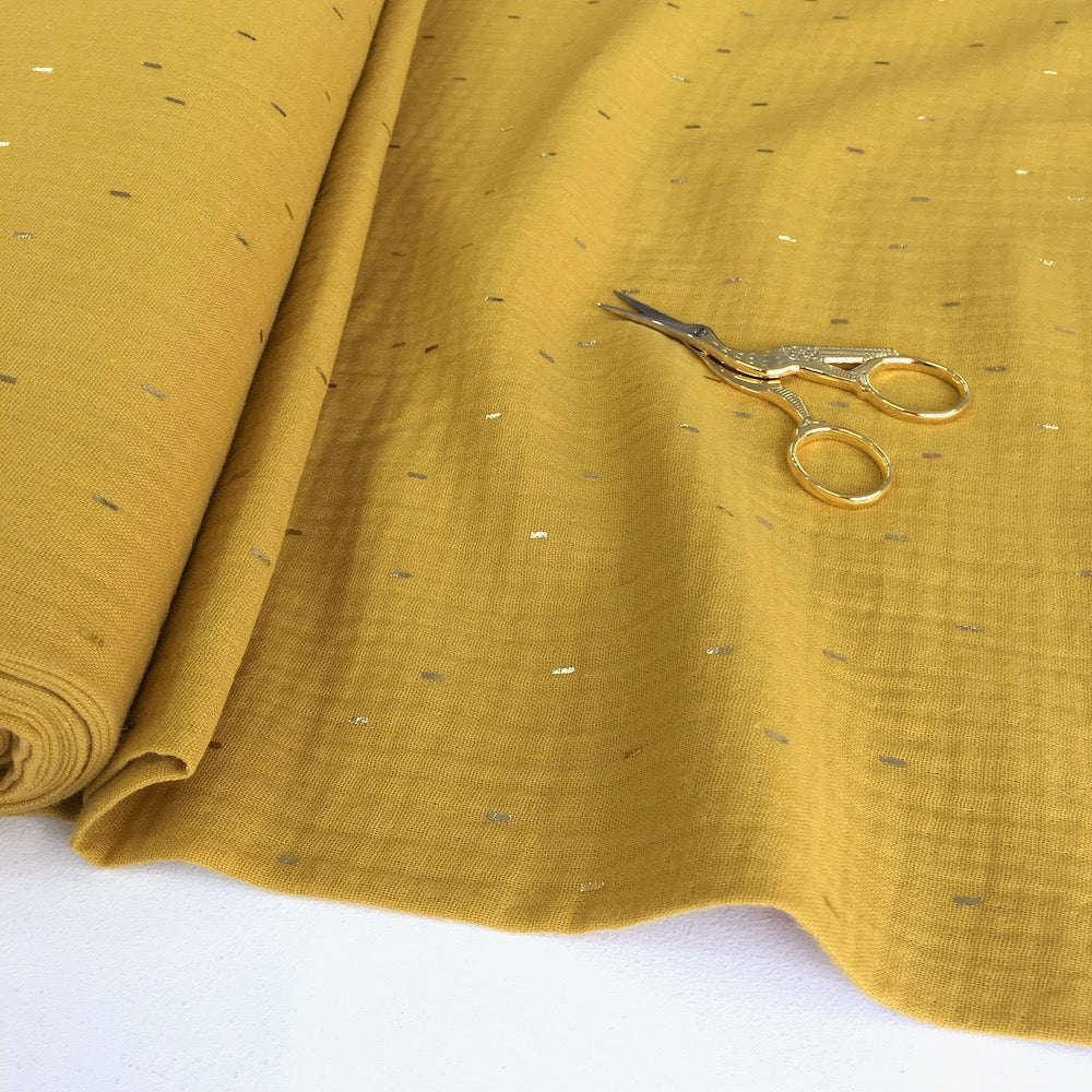 Golden Dashes Double Gauze Sunny Mustard - Frumble Fabrics