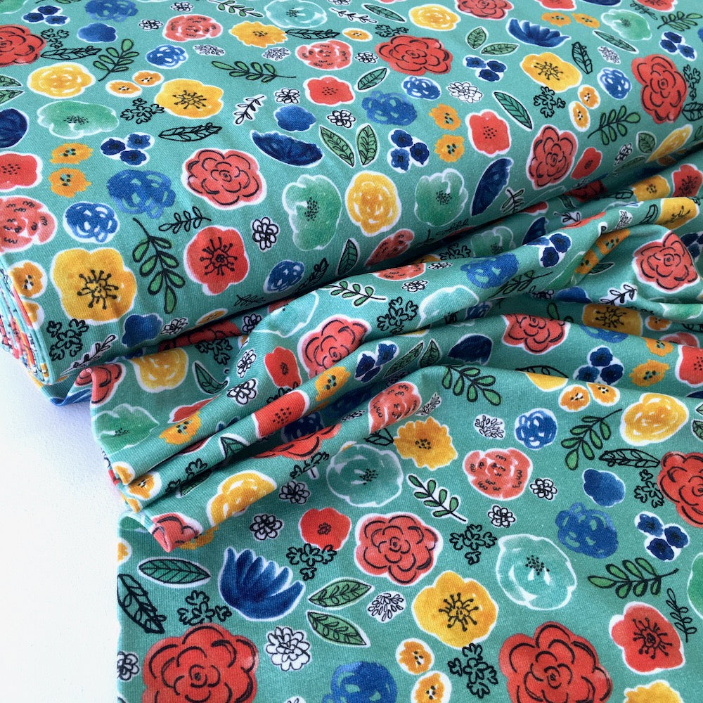 Frida's Flowers Printed Jersey Teal - Frumble Fabrics