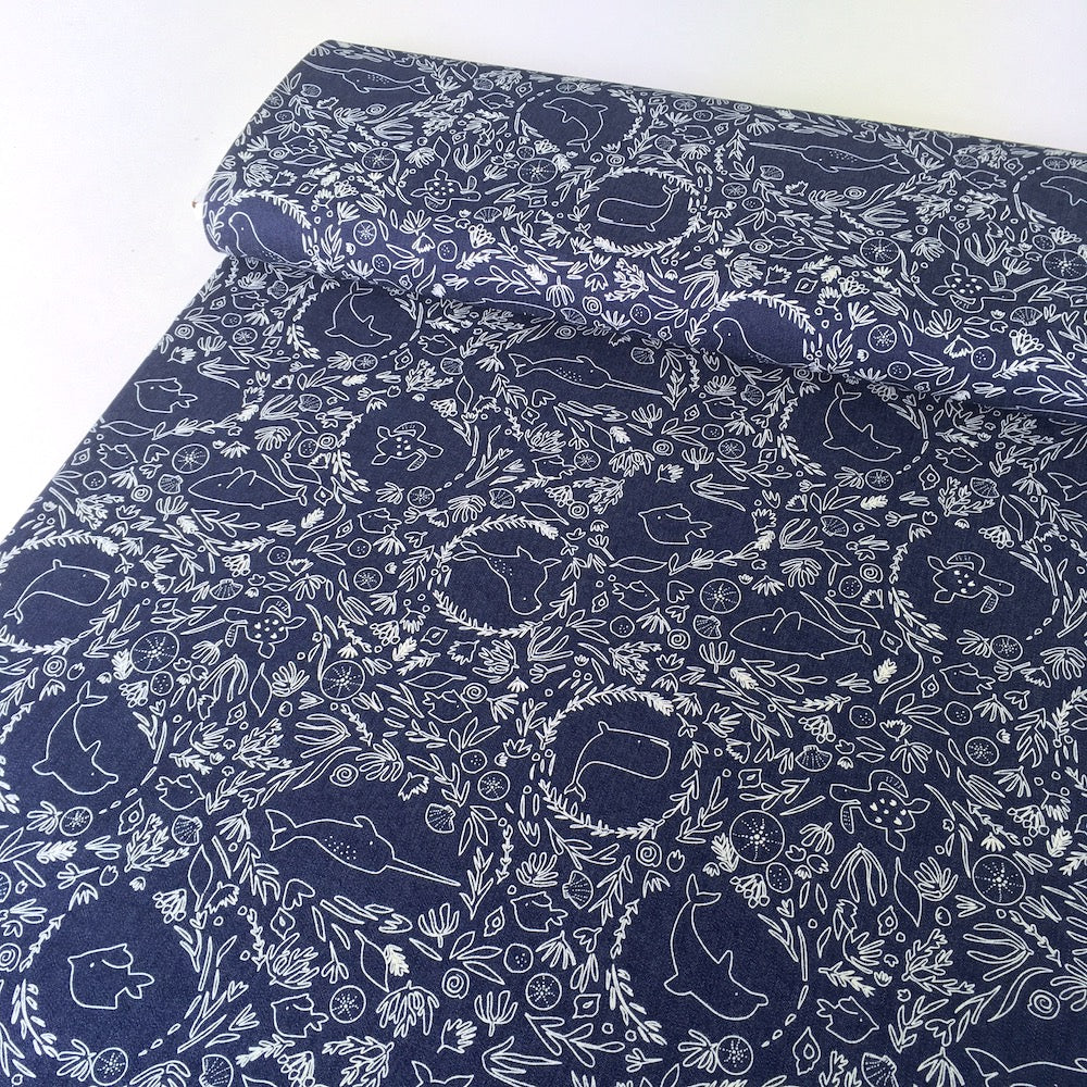 Under The Sea Narwhal 7oz Cotton Dark Denim Blue - Frumble Fabrics