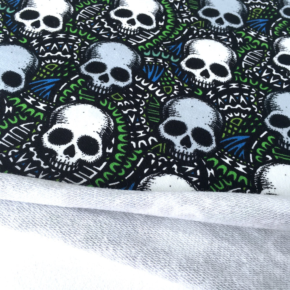 Scary Skull Green Printed French Terry