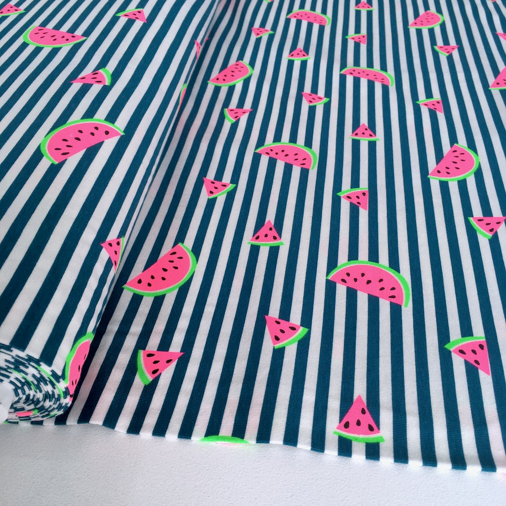 Neon Watermelon Stripe Jersey in Petrol Green - Frumble Fabrics