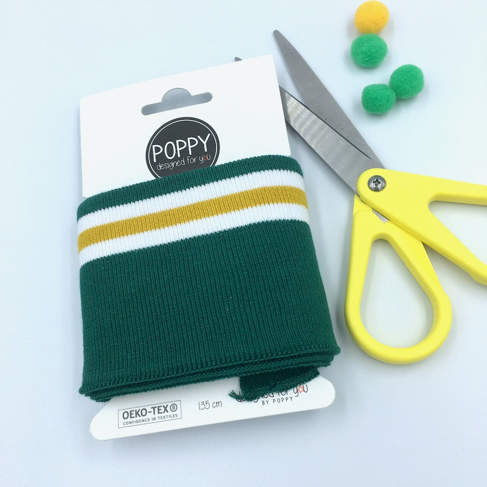 Cuffs by Poppy - Green Yellow White Stripe - Frumble Fabrics
