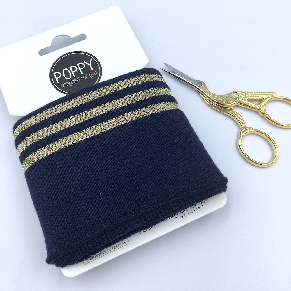 Cuffs by Poppy - Navy Gold Sparkle - Frumble Fabrics