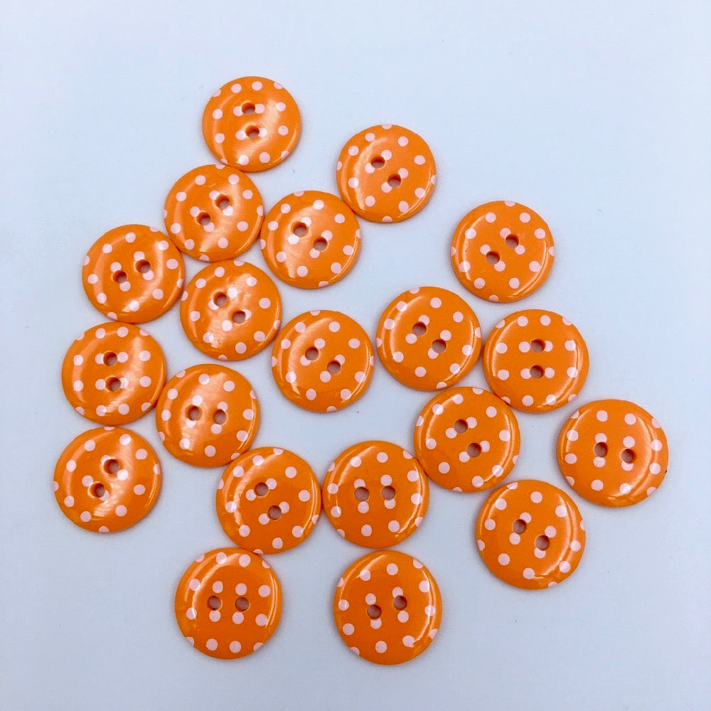 x20 Polka Dot Buttons Orange Size 24 (15mm) - Frumble Fabrics