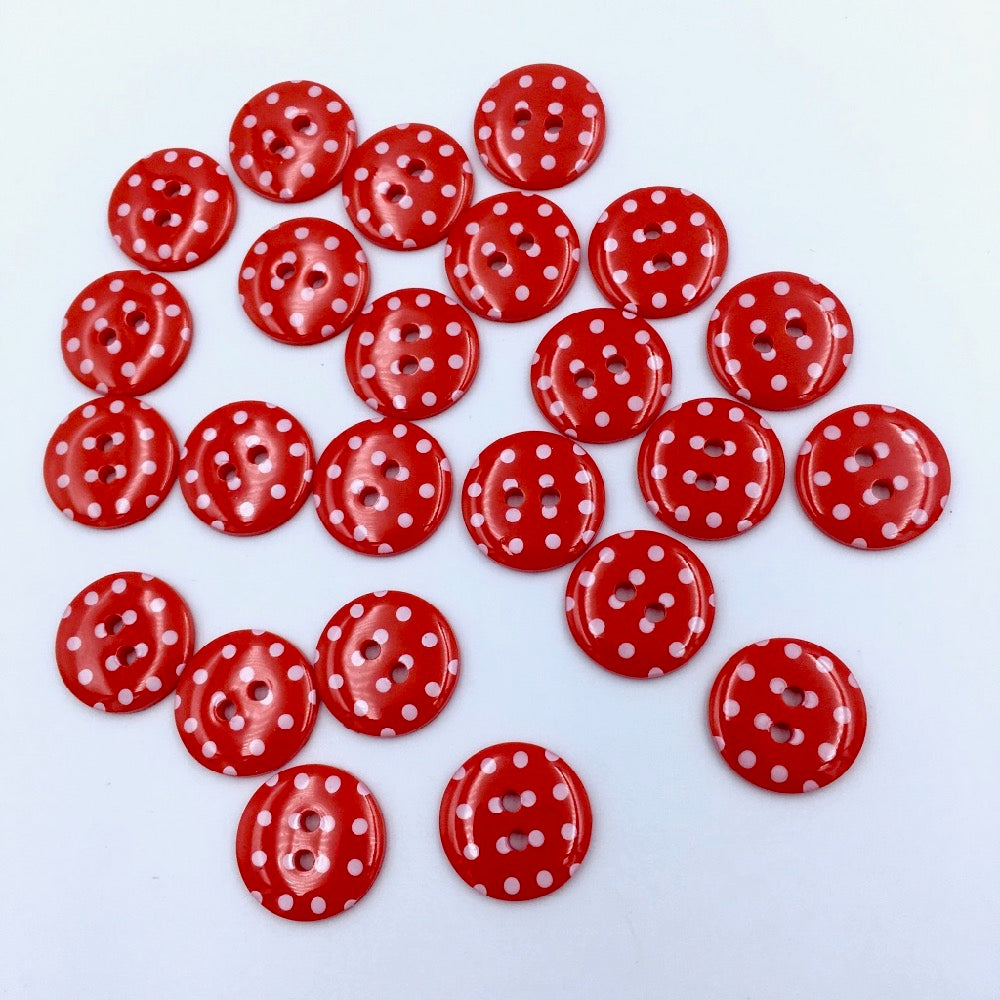 x20 Polka Dot Buttons Red Size 24 (15mm) - Frumble Fabrics