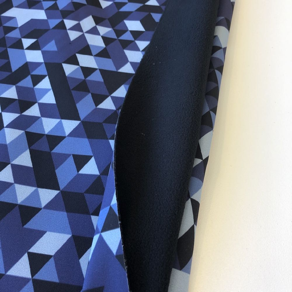 Geo Triangles Soft Shell in Blue Grey - Frumble Fabrics