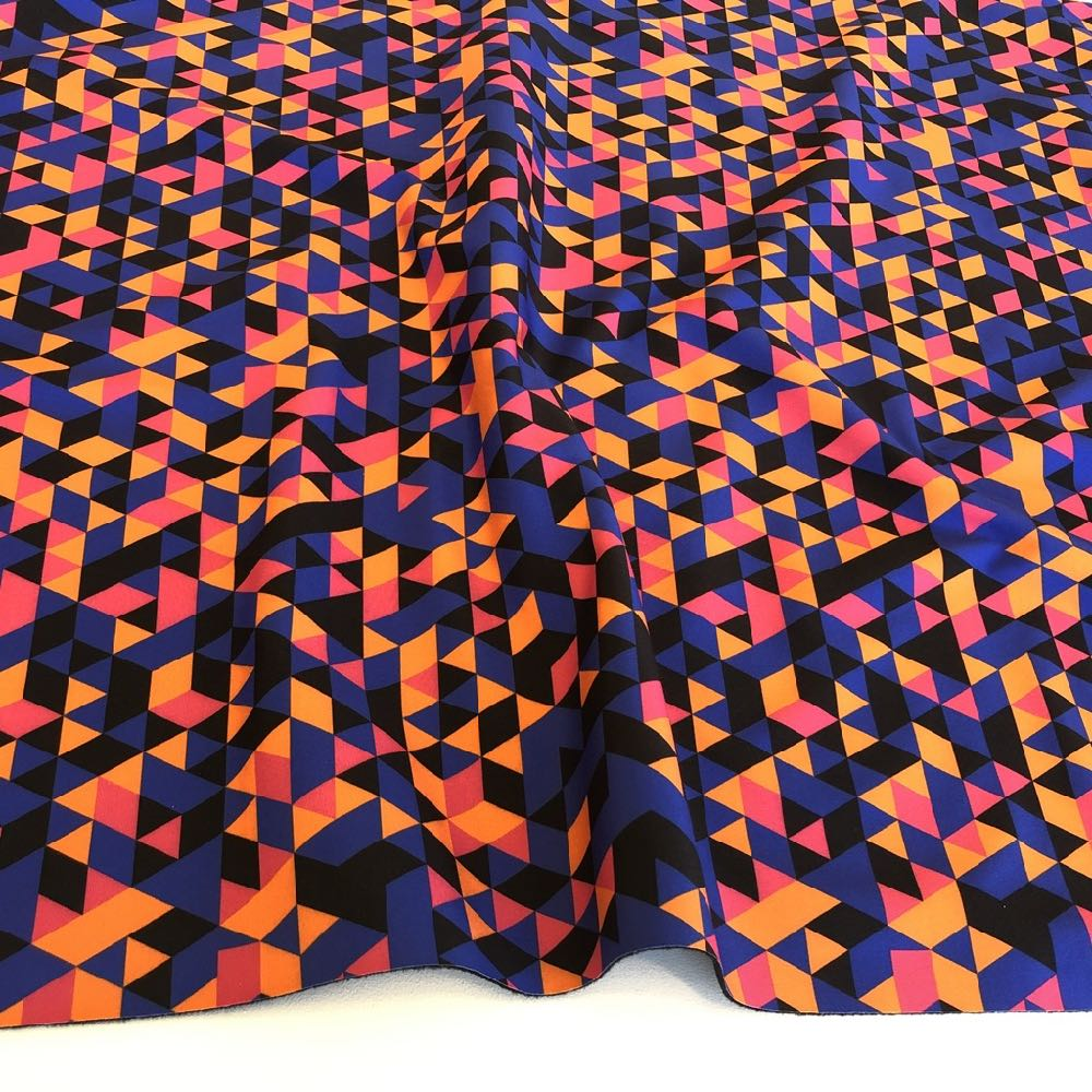 Geo Triangles Soft Shell in Pink and Orange - Frumble Fabrics