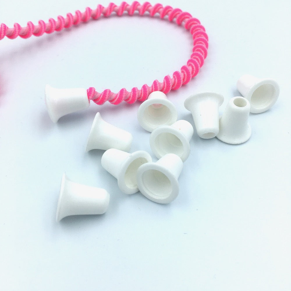 Cord End White - Bell Shaped 10 pack
