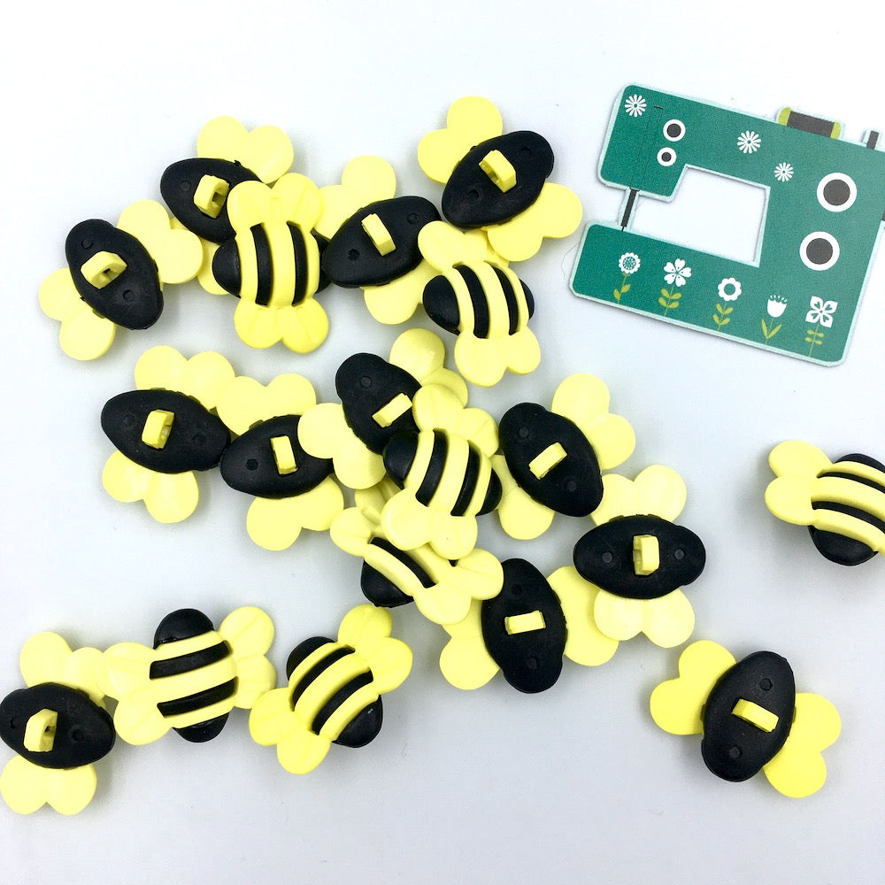 3D Bumble Bee Buttons 5 pack 25mm 1""